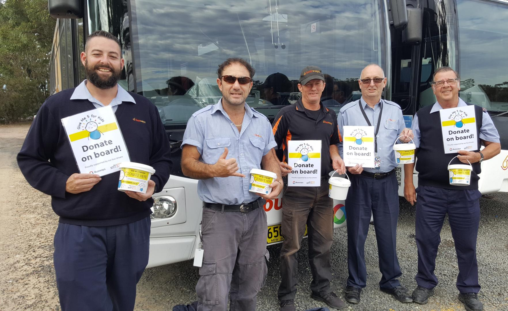 Busways drivers  volunteer to help Give Me 5 for Kids
